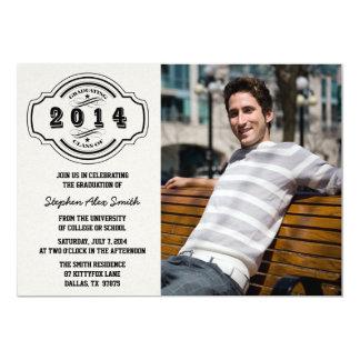 Class of 2014 gray black photo graduation party custom announcements