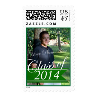 Class of 2014 green Banner with Photo Postage Stamp