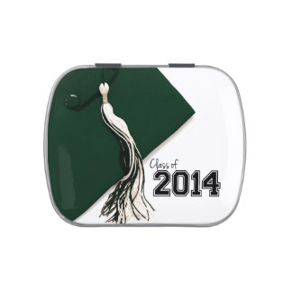 Class of 2014 Green Graduation Cap Jelly Belly Tin