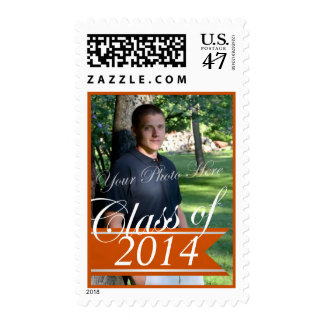 Class of 2014 orange Banner with Photo Postage