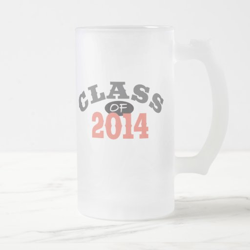 Class Of 2014 Peach 16 Oz Frosted Glass Beer Mug
