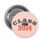 Class Of 2014 Peach Pinback Buttons