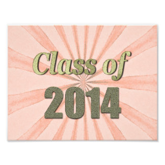 Class of 2014 Peach Sunburst and Gold Words Photographic Print