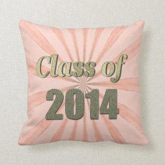 Class of 2014 Peach Sunburst and Gold Words Pillow
