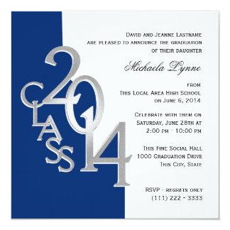Class of 2014 Photo Graduation Blue Silver Card