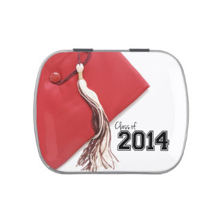 Class of 2014 Red Graduation Cap Jelly Belly Candy Tins