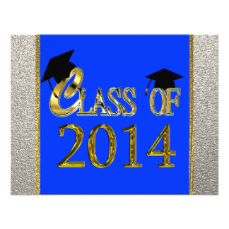 Class Of 2014 Royal Blue Graduation Invitations