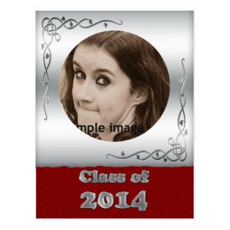 Class of 2014 Silver Red Custom Graduation Photo Postcards
