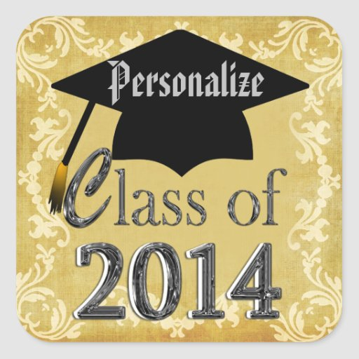 Class Of 2014 Vintage Border Graduation Stickers