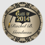Class Of 2014 Vintage Gold Graduation Stickers