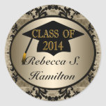 Class Of 2014 Vintage Gold Round Grad Stickers