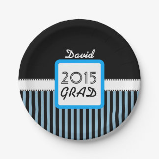 Class of 2015 ANY YEAR Custom Name Blue Stripes A4 7 Inch Paper Plate