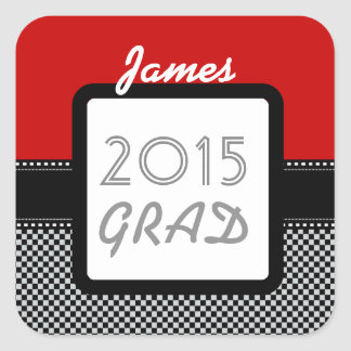 Class of 2015 ANY YEAR Custom Red Black Checks A10 Square Sticker