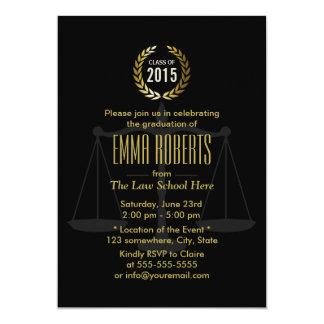 Class of 2015 Black & Gold Law School Graduation 5x7 Paper Invitation Card