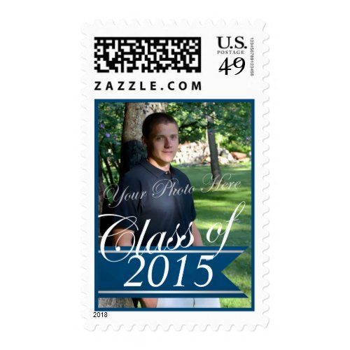 Add a 2015 postage stamp to your graduation invitations perfect class of 2015 blue banner with photo stamps filmwisefo