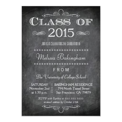Class of 2015 chalkboard graduation party invite