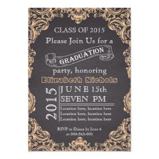 Class of 2015 chalkboard peach graduation 5x7 paper invitation card
