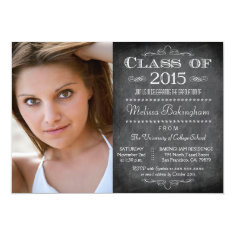Class of 2015 chalkboard photo graduation party 5x7 paper invitation card