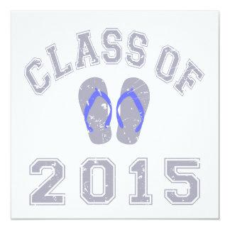 Class Of 2015 Flip Flop Grey - Blue 2 5.25x5.25 Square Paper Invitation Card