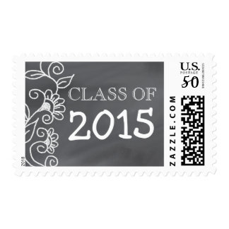 Class Of 2015 | Floral Chalkboard Graduation Postage