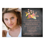 Class of 2015 floral chalkboard photo graduation custom invite