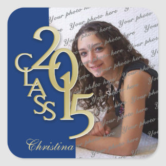 Class of 2015 Gold and Blue Graduation Square Sticker