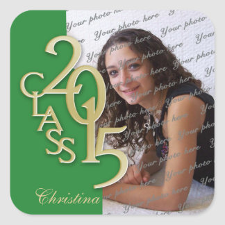 Class of 2015 Gold and Green Graduation Square Sticker