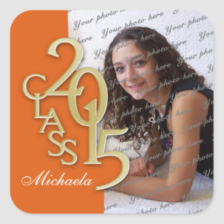 Class of 2015 Gold and Orange Graduation Square Sticker