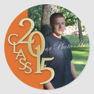 Class of 2015 Gold and Orange personalized photo Classic Round Sticker