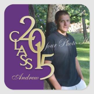 Class of 2015 Gold and Purple Graduation Square Sticker