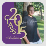 Class of 2015 Gold and Purple Graduation Stickers