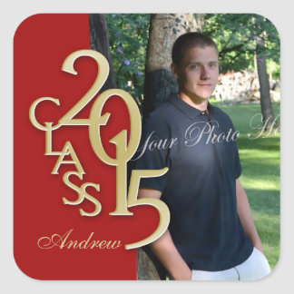 Class of 2015 Gold and Red Graduation Square Sticker