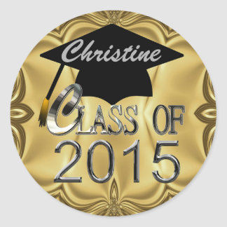 Class Of 2015 Gold Graduation Seals Round Stickers