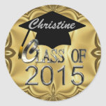 Class Of 2015 Gold Graduation Seals Classic Round Sticker