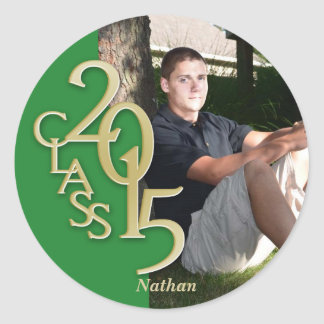 Class of 2015 Gold Green personalized photo Classic Round Sticker