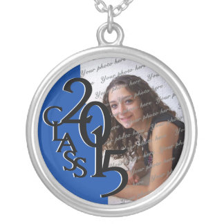 Class of 2015 Grad Photo Blue Silver Plated Necklace