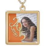 Class of 2015 Grad Photo Orange Gold Pendants