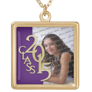 Class of 2015 Grad Photo Purple Gold Gold Plated Necklace