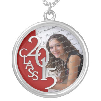 Class of 2015 Grad Photo Red Silver Silver Plated Necklace