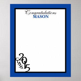 Class of 2015 Graduation Autograph Keepsake Blue Poster