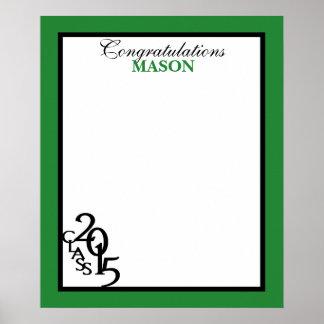 Class of 2015 Graduation Autograph Keepsake Green Poster
