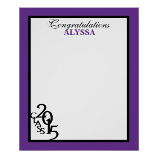 Class of 2015 Graduation Autograph Keepsake Purple Posters