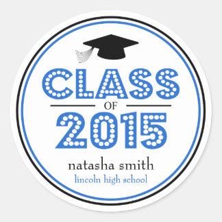 Class Of 2015 Graduation Favor (Blue / Black) Classic Round Sticker