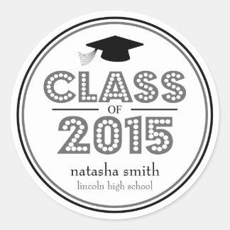 Class Of 2015 Graduation Favor (Gray / Black) Classic Round Sticker