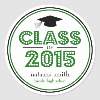 Class Of 2015 Graduation Favor (Green / Black) Classic Round Sticker