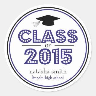 Class Of 2015 Graduation Favor (Navy Blue / Black) Classic Round Sticker