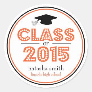 Class Of 2015 Graduation Favor (Orange / Black) Classic Round Sticker