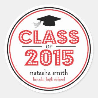 Class Of 2015 Graduation Favor (Red / Black) Classic Round Sticker