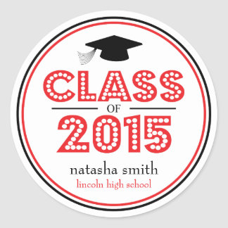 Class Of 2015 Graduation Favor (Red / Black) Classic Round Sticker