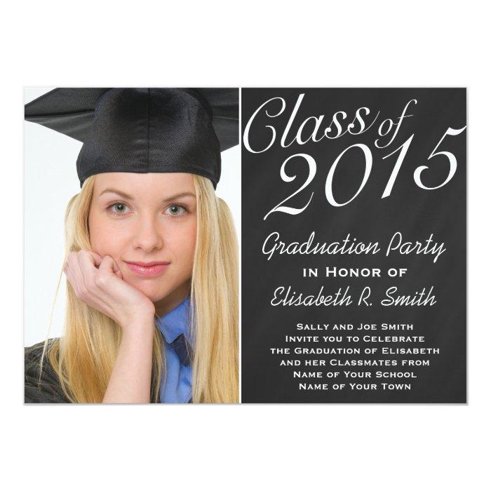 class of 2015 graduation party chalkboard portrait card